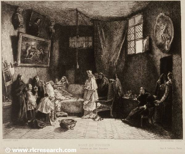 Death of Poussin (etching by Félix Braquemond)