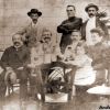 Bérenger Saunière with brother in law M. Marty (sitting left), Joseph Pages sitting next to Saunière's sister Marie Louise Marty-Saunière in black and their daughter ©André Galaup