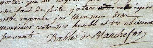 Signature of Marie de Nègre d'Ables de Blanchefort