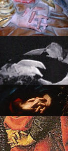 the crossed fingers of Mary-Magdalene, Jean Cocteau lying in state, Christ (Carvaggio), Mary-Magdalene (Perugino)