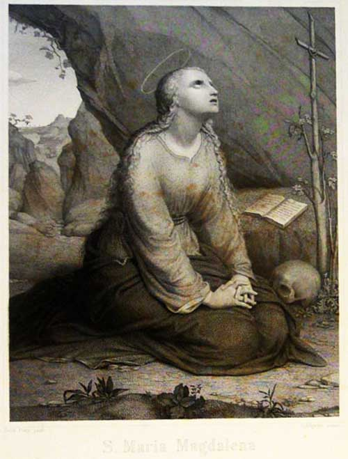 Maria Magdalena, engraving by Julius Allgeyer after a painting by Gebhard Flatz, Karlsruhe 1850