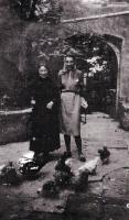 Marie Dénarnaud (left) posing with Mme Corbu in the Cour du Presbytère in 1941