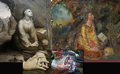 Comparison of Saunière's altar bas relief with Gebhard Flatz' image of Mary Magdalene, with details of the hands