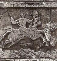 Knight relief over the entrance of Bieta Mariam, Ethiopia