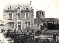 Saunière (right) and Dénarnaud posing in front of the Villa Bethania