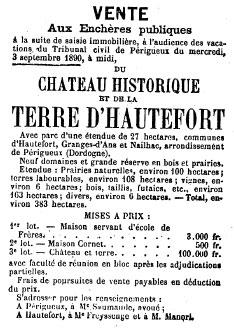 Sale of Château de Hautefort