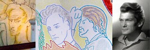 From left to right: Cocteau self portrait ND de France (London, UK), Coctau sel-portrait as part of the last supper (ND de Jérusalem), portrait of Jean Marais as part of the same last supper, Jean Marais as part of the same last supper, Jean Marais