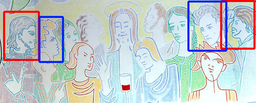 The last supper with the 'younger' Marais & Cocteau left and the 'older' Marais and Cocteau right, notice that the old Cocteau looks away from the Christ he looked up to when he was young