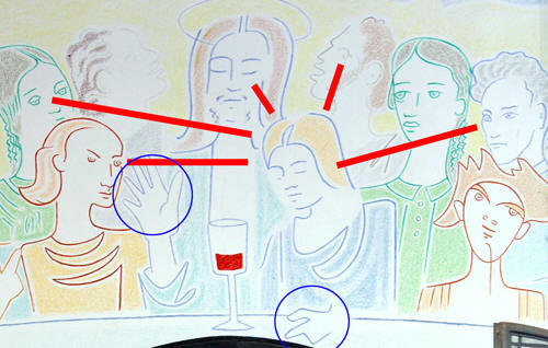 Five apostles looking at Mary-Magdalene