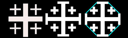 From left to right: Crusaders'Cross, Jerusalem Cross, transformation to the Octagon