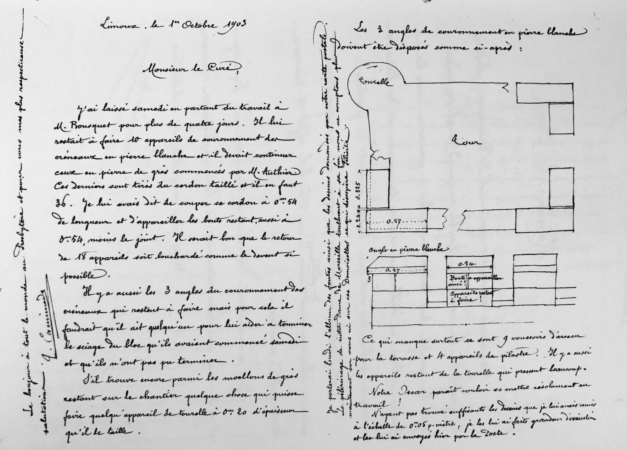 Correspondence about the Tour Magdala between Saunière and his architect Tiburce Caminade of Limoux