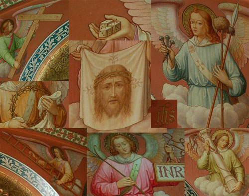 Arma Christi murals surrounding the Stations of the Cross in St. Bavo's cathedral in Ghent