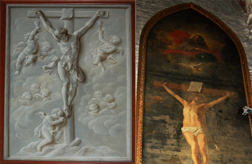 Two Tau paintings guarding the entrance to the Adoration of the Mystic Lamb