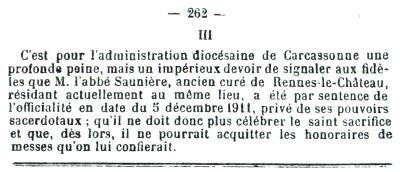 La Semaine Religieuse announced Saunière's suspension in 1911