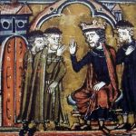 Baldwin II ceeding the Temple of Salomon to Hugues de Payns and Gaudefroy de Saint-Homer (13th Century)