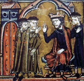 Baldwin II ceeding the Temple of Salomon to Hugues de Payns and Gaudefroy de Saint-Homer (13th Century)