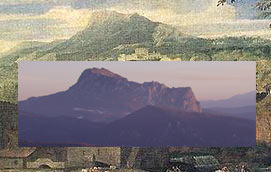 Mount Bugarach and a detail of Poussin's ideal landscape