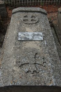 Tombstone of Deodat Roche with the Occitan and Cathar crosses