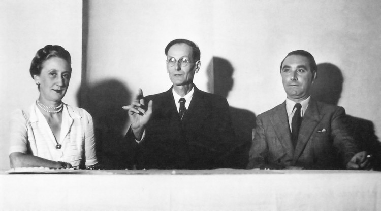 1st Congress of Cathar Studies in Ussat-les-Bains 1948 with Fanita de Pierrefeu, Déodat Roché and René Nelli