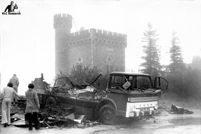 A burning BBC truck in 1974