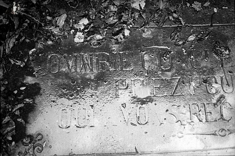 Detail of the text on the steps of Our Lady of Lourdes, this slab used to be the old altar