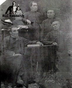 Bérenger Saunière with his brother Alfred, Antoine Gélis, his cousin Maurice Malot and Henri Boudet