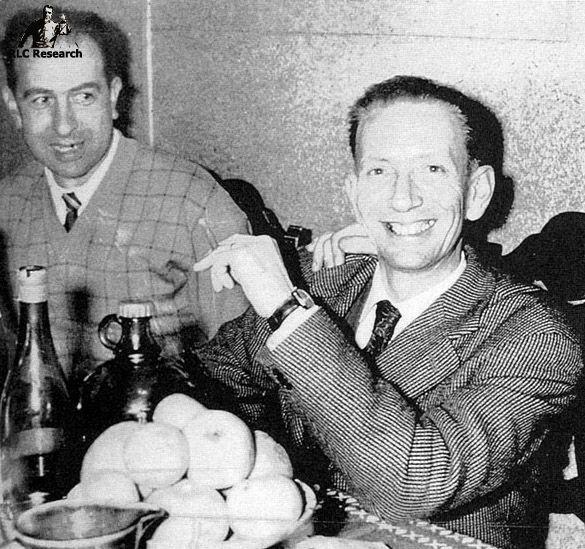 Noel Corbu posing with journalist Albert Salomon who published his story in La Depeche du Midi in 1956