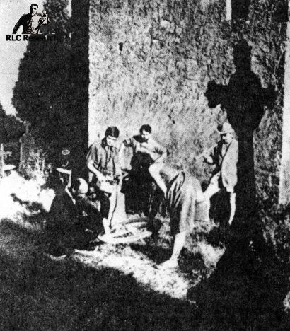 Noel Corbu conducting a nightly dig in the cemetery