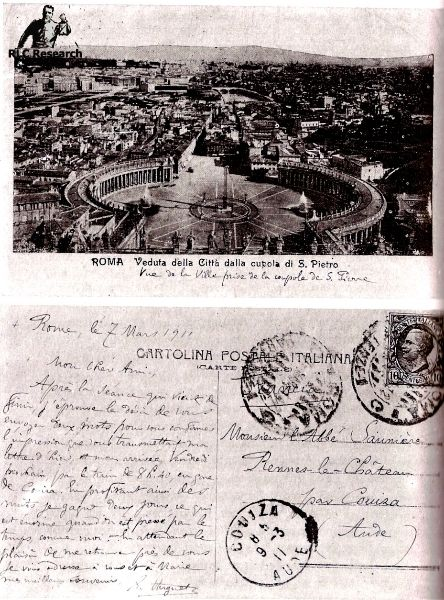 Postcard from Rome where Eugène Huguet was defending Saunière before the Vatican in March 1911