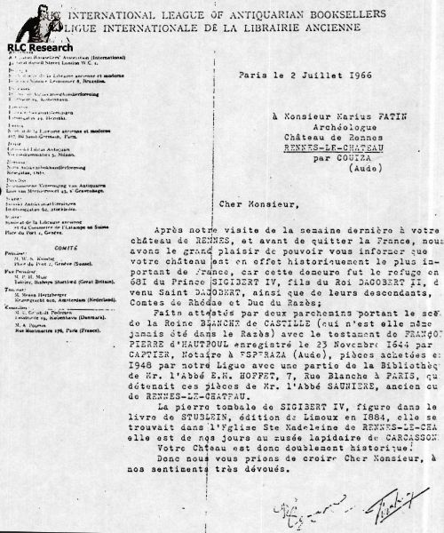 Letter stating to Marius Fatin about the Château Hautpoul