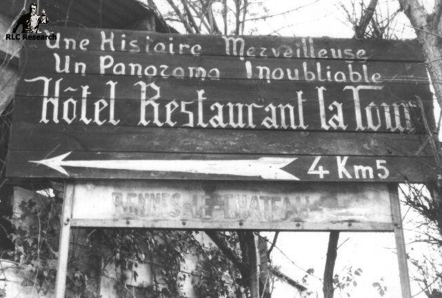 Sign of Corbu's Hotel de la Tour