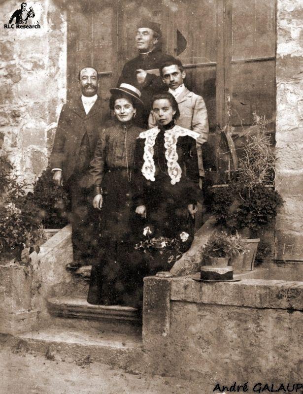 Bérenger Saunière with M. Marty (w. moustache left), Marie Louise Marty-Saunière and Joseph Pages ©André Galaup