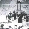 The children who have received first communion surroun Saunière and Father Ferrafiat, a Lazarist from Notre Dame de Marceille