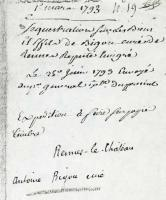 Document of Bigou signing over his posessions to the French state in March 1793