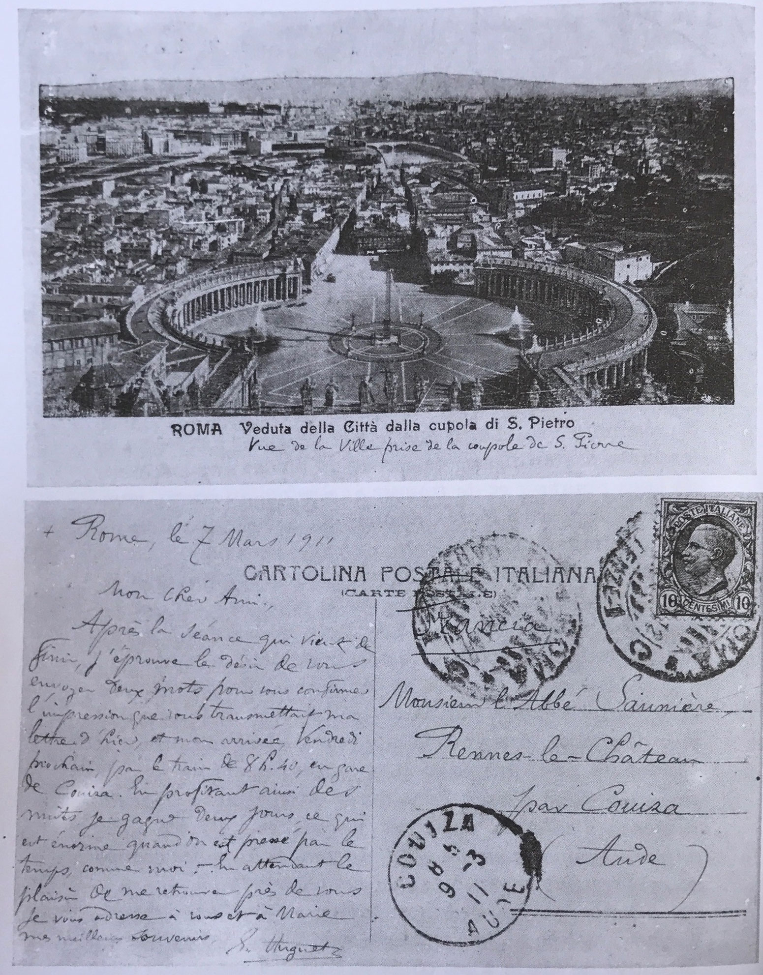 Postcard from Eugene Huguet to Saunière sent during a visit to the Vatican to defend him