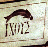 IXOYΣ on the wall of the cathedral of Sisteron