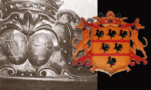 Carving on the Head of Marie de Negre's deathbed with the star of David and the Hautpoul's Coat of Arms with three Hens (carvin picture copyright Pierre Jarnac)