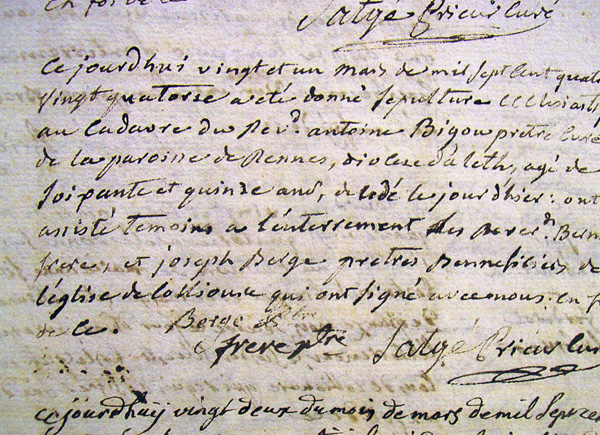 Death Certificate of Antoine Bigou