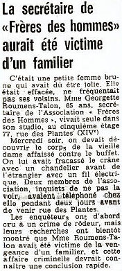 Article France-Soir, 31st August 1974