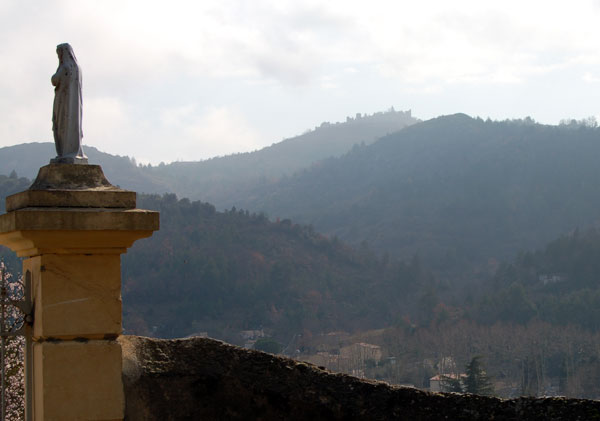 The hilltop of Rennes-le-Château seen from the Montazels cemetery
