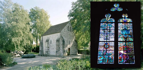 Left: the Chapel at Milly-la-Fôret that Cocteau decorated and in which he is buried, Right: the stained glass window he made for the church in Metz