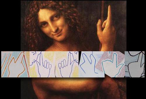 Hands displaying the 'J' and the inversed 'J' symbol like John in Da Vinci's painting