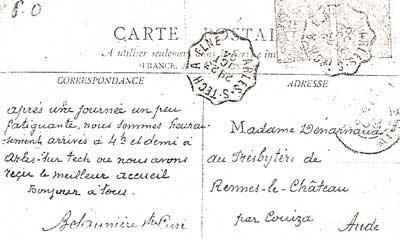 Letter by Bérenger Saunière from Arles-sur-Tech