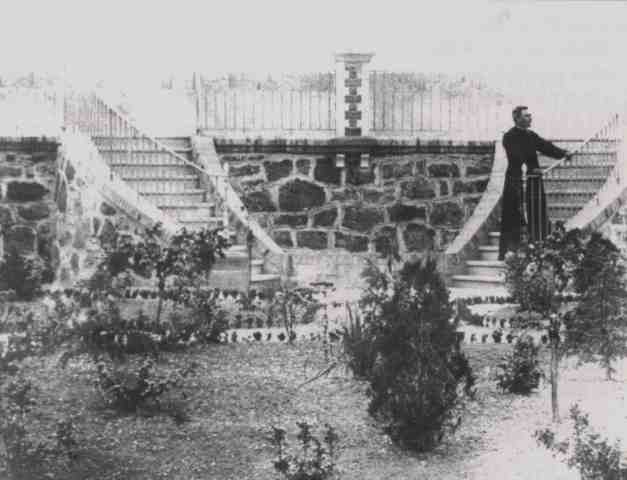 Saunière posing on the Double Steps of the Belvédère