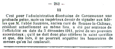 La Semaine Religieuse announced Saunière's suspension in 1911