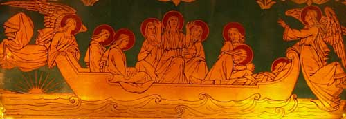 Image on a Reliquary kept in la Sainte-Baume (South of France). The boat carrying Mary Magdelene into Southern France is also carrying a mummified body facing Mary mother of Jesus