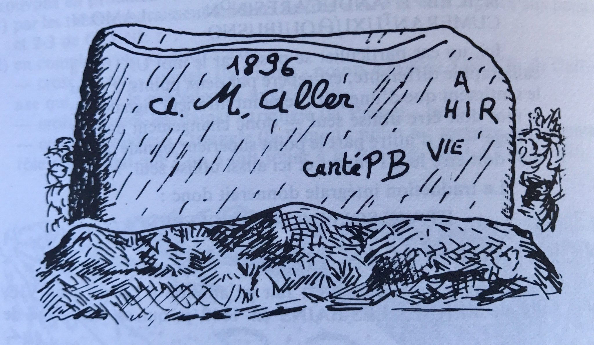 Inscription of Jean Vie's name on the Trembling Rocks on the plateau d'Homme Mort in Rennes-les-Bains