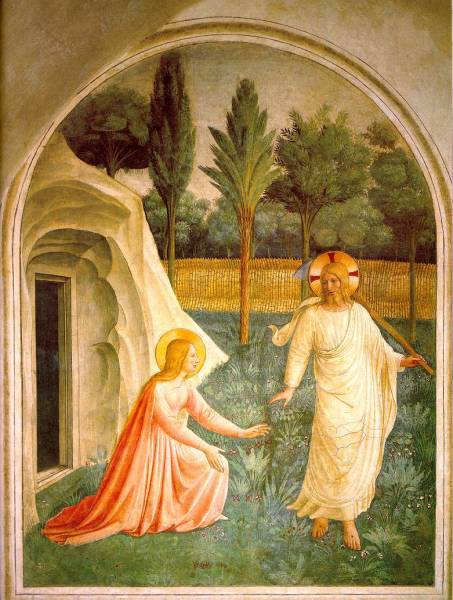 Mary Magdalene and Christ the gardener, Fresco by Fra Angelino (Convent of San Marco, Florence)