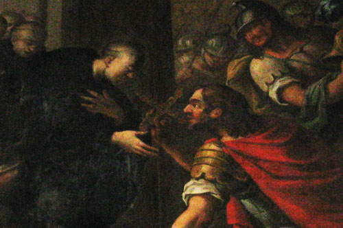 William of Gellone, donating Charlemagne's relic of the True Cross to the Abbey of Gellone. Painted by Étienne Loys, 18th century, currently in the church of Vendémian.