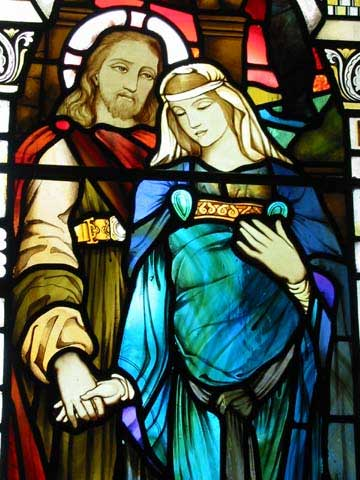 Jesus and the pregnant Mary-Magdalene, Kilmore church, Scotland